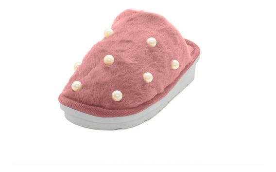 Pantufla Tipo Zueco Palo Rosa Con Perlas