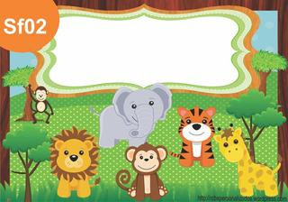 Painel Lona Safari Com Nome Criança