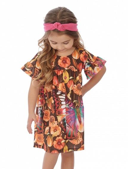 Vestido Infantil Soltinho Borboleta E Flores Marrom Up Baby