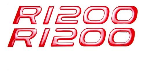 Imagem 1 de 4 de Emblema Adesivo Bmw R1200 R 1200 Resinado Vermelho Par Res10