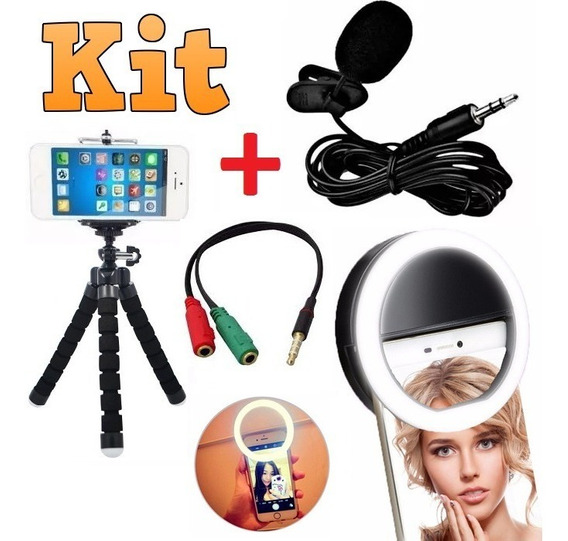 Kit Youtuber Microfone Lapela Tripé Flash Ring Light Celular