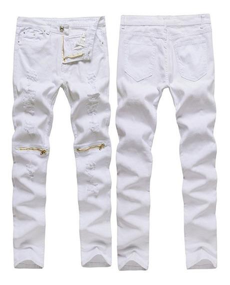 Hombres Destrozados Pantalones Vaqueros Slim Fit De Lápiz