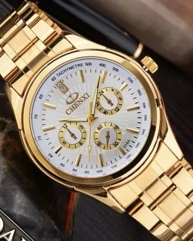 Relógio Barato Luxo Dourado Prova D Água Original + Brinde