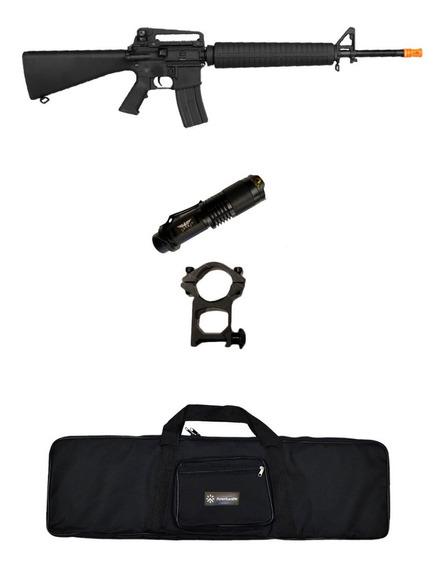 Rifle Elétrico Airsoft Cyma M16a4 Cm009 + Lanterna + Capa