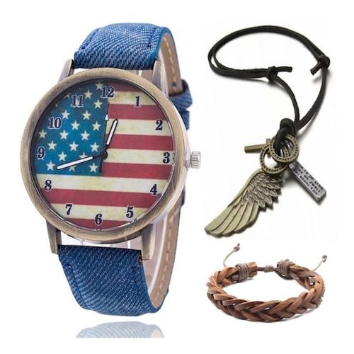 Relógio Bandeira Estados Unidos Jeans + Colar Asa + Pulseira