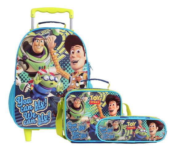 Kit Toy Story 4 Mochila De Carrinho Lancheira E Estojo