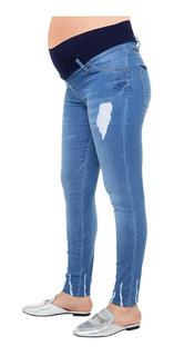 Jeans Embarazada Celeste Con Rotura - Qué Será? Futura Mamá