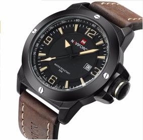 Relógio Masculino Original Naviforce Em Couro Frete Grátis!