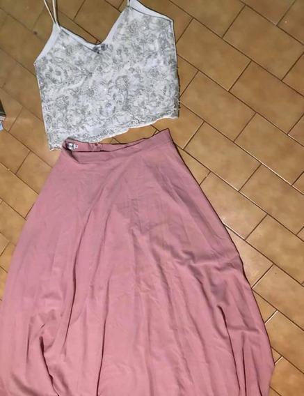 Vestido De Fiesta (top Y Pollera). Un Solo Uso.