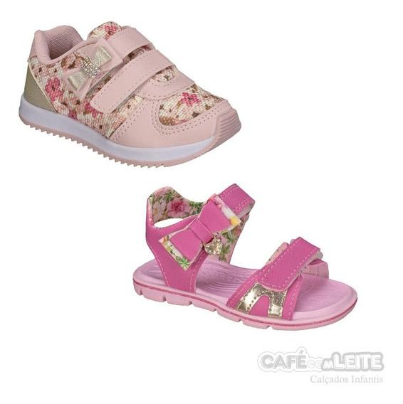 Tênis Infantil Confortável+ Papete Menina (kit 2 Pares)