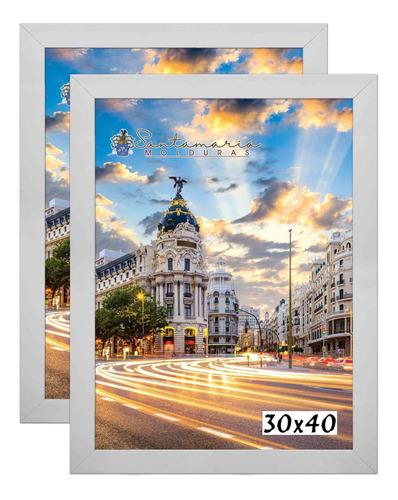 Imagem 1 de 3 de Kit 2 Porta Retrato Molduras 30x40 Branco