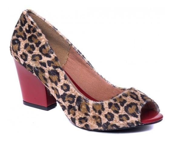 Sapato Feminino Peep Toe Oncinha Salto Baixo Grosso Festas