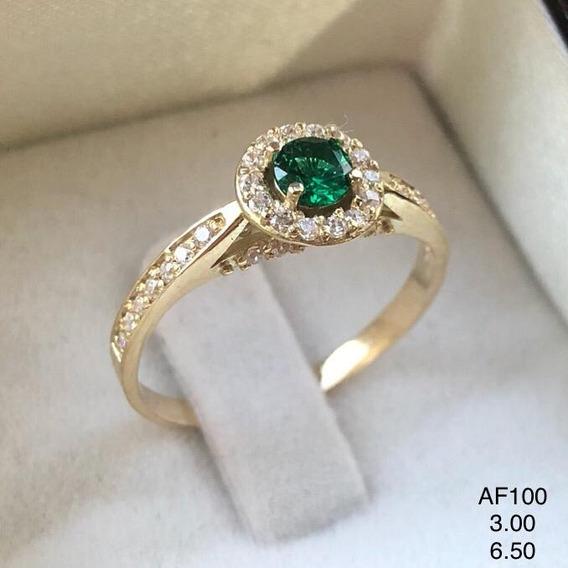 Anel Em Ouro 18k, Com Turmalina Verde E Diamantes