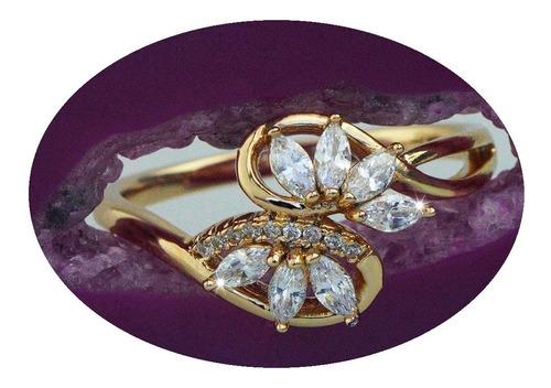Imagen 1 de 10 de Anillos Compromiso Oro 18k Mama Mujer Flor Regalo Elegante.