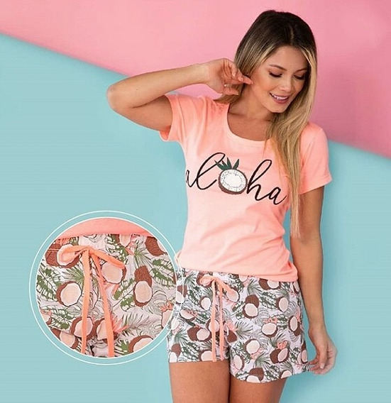 Pijama Aloha Coconut Mujerjuvenil Short Blusa Detalles Neon