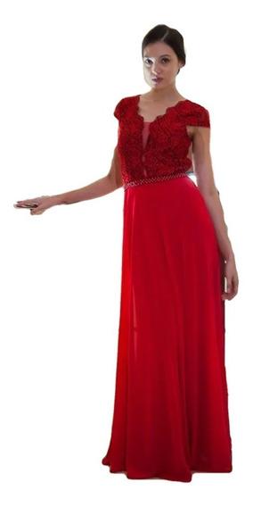 Vestido Festa Longo Manguinha Tiffany Vermelho Royal