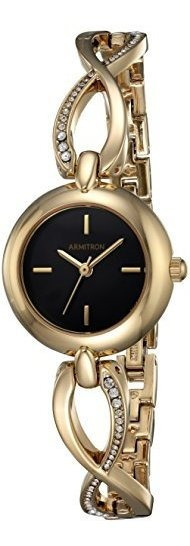 Armitron 75/5495bkgp Reloj De Pulsera Curvado En Tono Dorado