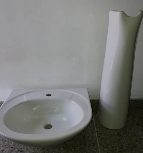 Lavamano Venceramica Pompano Con Pedestal Blanco