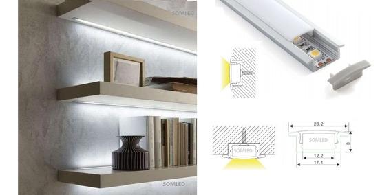 Kit C/ Perfis De Aluminio + Fita Led + Fonte
