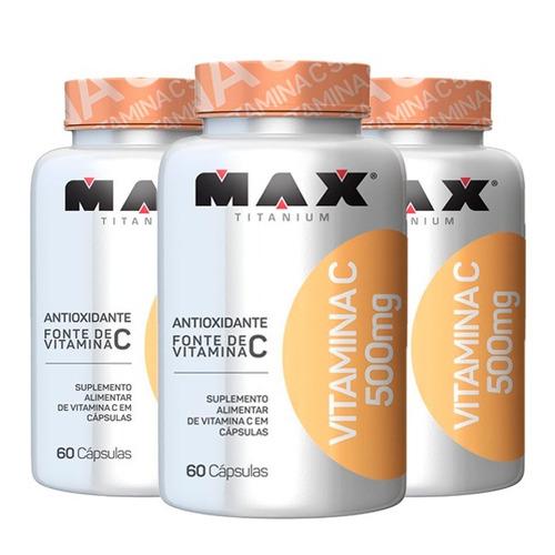 Vitamina C 500mg - 3x 60 Cápsulas - Max Titanium