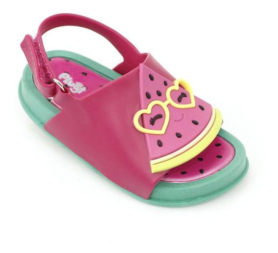 Sandália Plugt Mini Bizz Melancia Infantil - Verde/pink