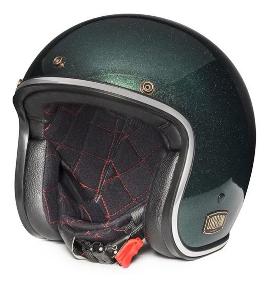 Capacete Urban Helmets Green Old School Com Viseira Bolha