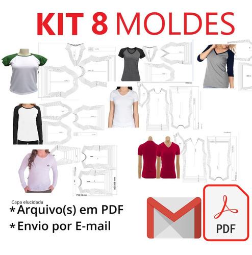 Kit 8 Moldes Modelagem Baby Look Feminino Plus Size