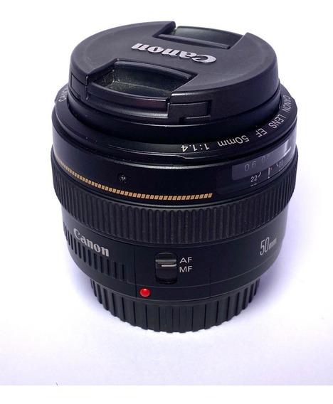 Lente Canon Ef 50mm F/1.4 Usm Fixa Semi Nova Usada