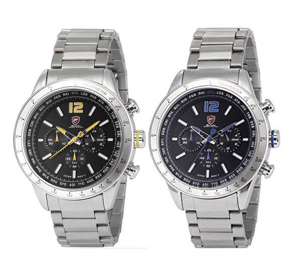2 Relógios Masculino Shark Anjo (azul/amarelo), Multifunções, Todo Em Aço Inoxidável, (original Com Nf) À Pronta Entrega