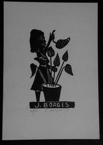 Xilogravura Assinada - J. Borges - Mulher Com Folhas