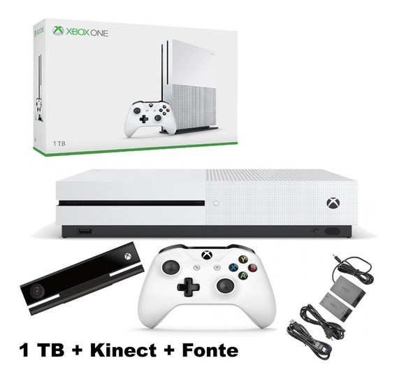 Xbox One S 1tb + Kinect Controle S/ Fio Fonte Adaptadora 4k