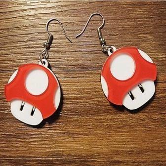 Brinco Acrílico Cogumelo Verde E Vermelho Super Mario World