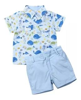 Conjunto De Ropa Para Niño Camisa Y Bermuda Azul Ballenas