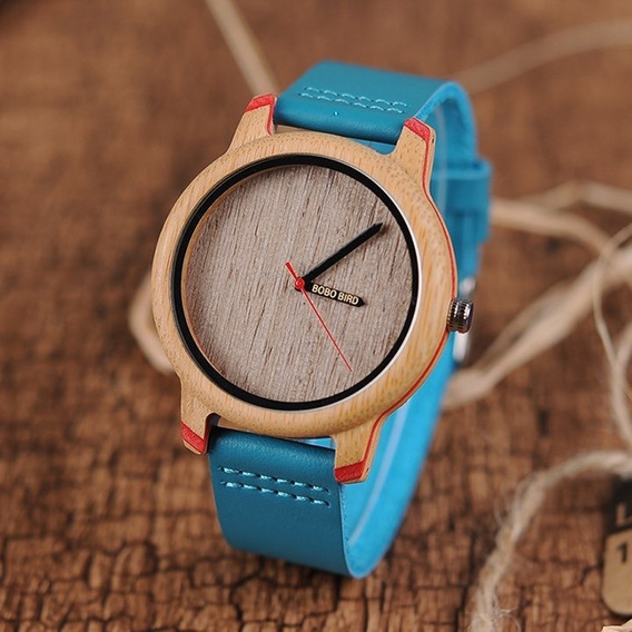 Relógio De Madeira Bobo Bird Feminino - Couro Azul + Brinde