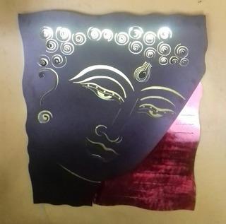 Cuadro Lampara De Pared Buda Con Luz Leds En Acero