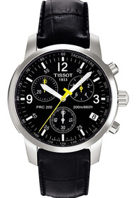 Relógio Tissot Prc200 Aço E Couro Preto Caixa Original 40mmm