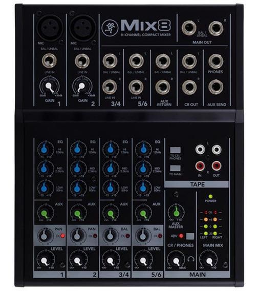 Mesa De Som Compacta 8 Canais Mix 8 Mackie