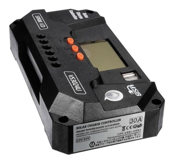 Controlador Carga Solar 80a Pwm 12v 24v Lcd Envio Imediato