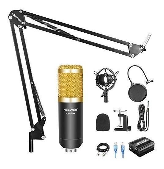 Micrófono Condensador Neewer Nw800 + Tarjeta De Sonido