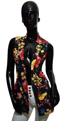 Imagen 1 de 5 de Chaleco Blazer Casual Formal Dama Juvenil Saco Estampado