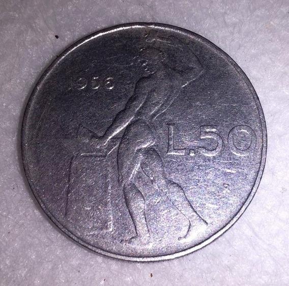 Moneda De Italia 50 Liras 1956