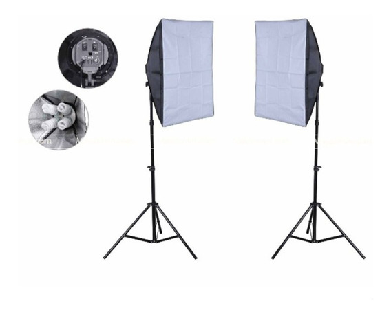 Kit Estudio P/ Video Nicefoto 1x Softbox 50x70 Para 4 Lampadas