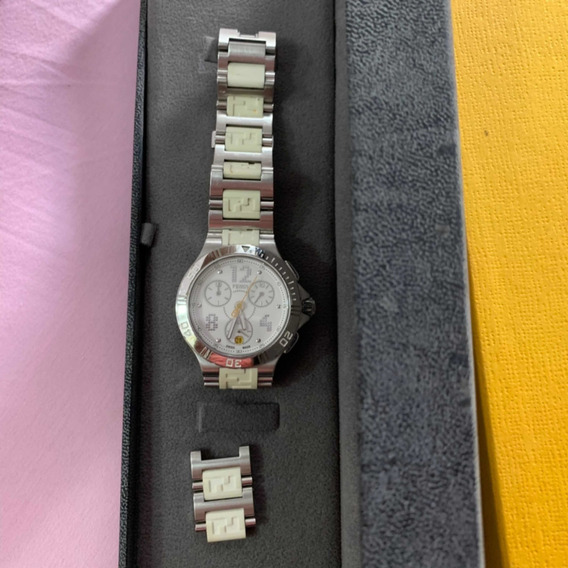 Relógio Fendi Original Branco Com Prata