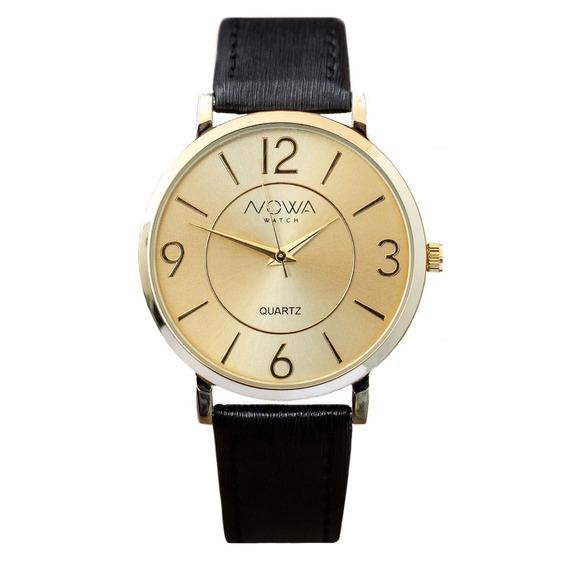 Relógio Nowa Feminino Dourado Couro Nw1412k Original+frete