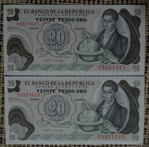 2 Billetes  20 Pesos Oro Colombia Año 1982 De Colección(p84