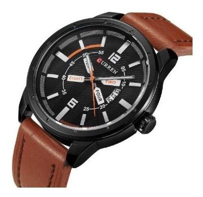 Relógio Masculino Curren Analógico 8211 Preto E Marrom