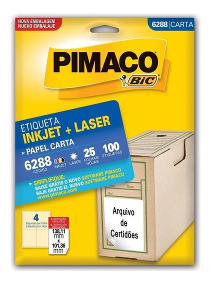 100 Etiqueta Tipo Pimaco 6288 Tam.carta 25 Fls Frete Gratis