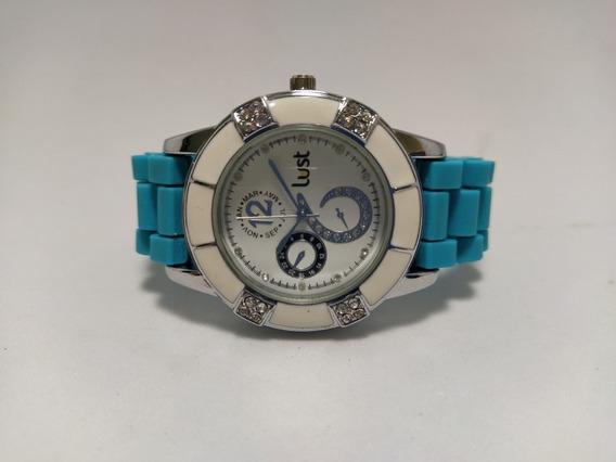Relógio Lust Feminino Pulseira De SiliconeAzul Tiffany