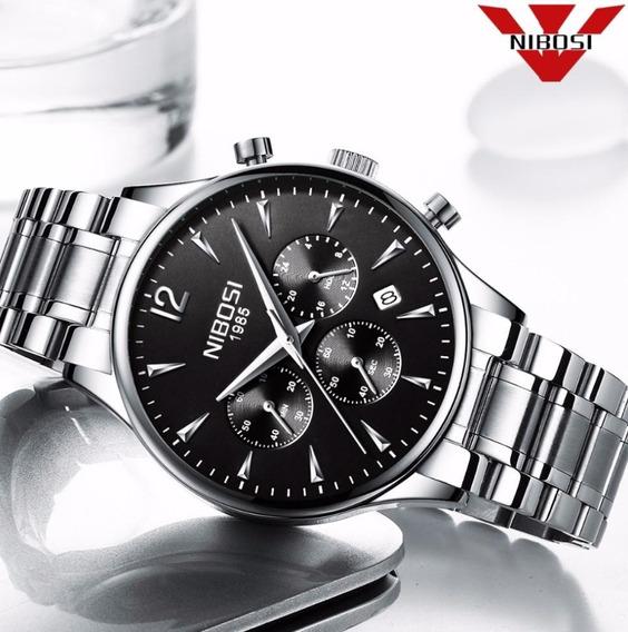Relógio Nibosi 2326 Prata Inoxidavel A Prova De Agua Origin