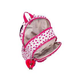 Mochila Infantil Heart Branca E Rosa Pink Wings Kipling